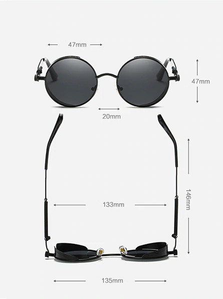 Retro Round Sunglasses - Dimensions